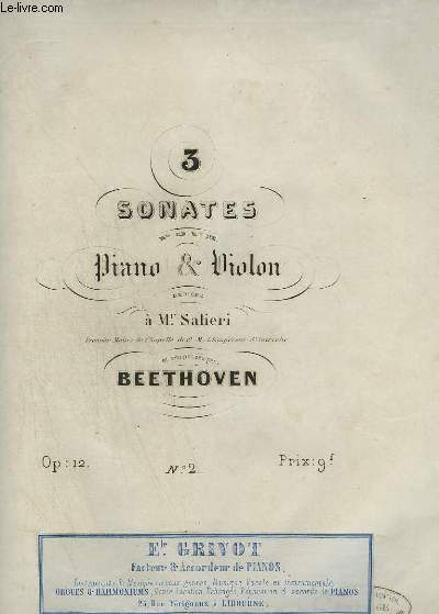3 SONATES POUR PIANO ET VIOLON : N°2.