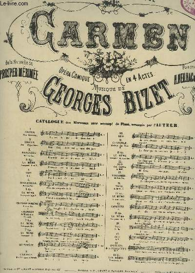 CARMEN - N°11 : CANTABILE POUR PIANO ET CHANT TENOR.