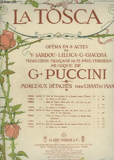 LA TOSCA - N°108866 : ACTE 3 LE CIEL LUISAIT D'ETOILES - PIANO ET CHANT TENOR.
