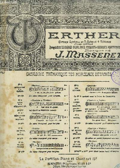 WERTHER - N°10 : LE LIED D'OSSIAN - PIANO ET CHANT.