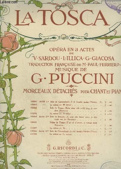 LA TOSCA - N°108863 : ACTE 1 : NOTRE DOUX NID, CACHE DANS LA VERDURE - PIANO ET CHANT SOPRANO.