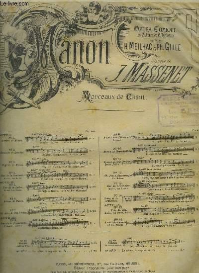 MANON - N°1 : ARRIVEE DE MANON - PIANO ET CHANT.