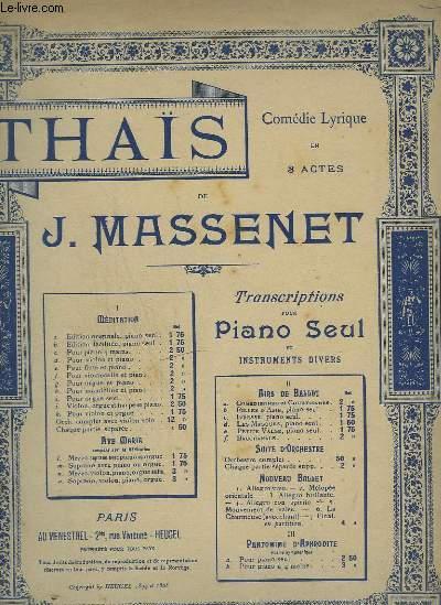 THAIS - N° 1 D : MEDITATION POUR VIOLON ET PIANO.