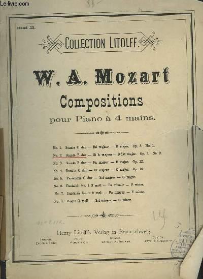 COMPOSITIONS POUR PIANO A 4 MAINS - N°2 : SONATE B DUR / SI B MAJEUR / B FLAT MAJOR - OP.3 N°2.