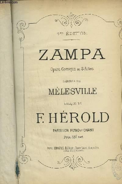 ZAMPA - OPERA COMIQUE EN 3 ACTES POUR PIANO ET CHANT.