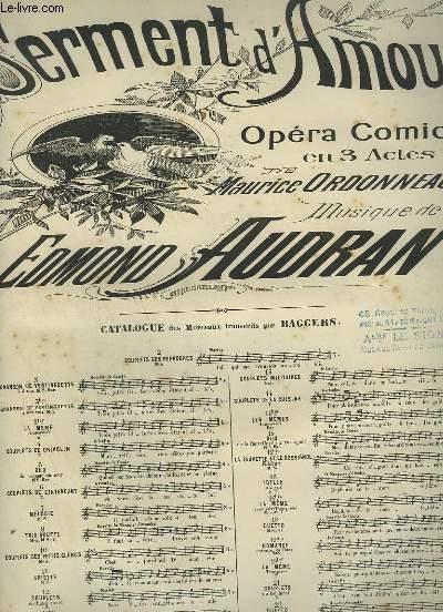 SERMENT D'AMOUR + N°3 : CHANSON DE VERTINGUETTE POUR PIANO ET CHANT A 2 VOIX.