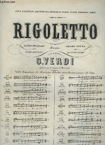 RIGOLETTO - N°9 BIS : CHANSON POUR PIANO ET CHANT.