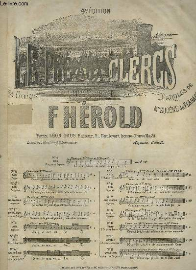 LE PRE AUX CLERS - N°3 : PIANO ET CHANT.