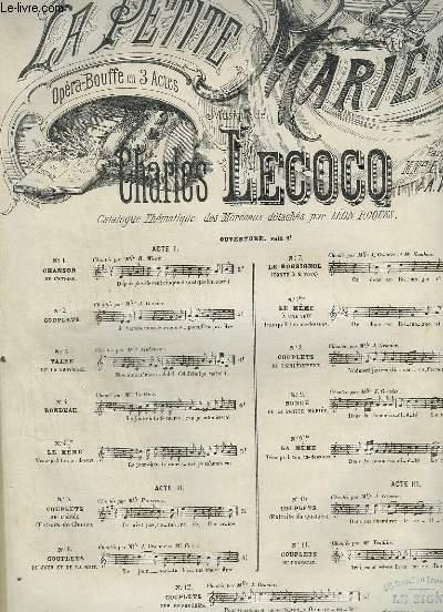 LA PETITE MARIEE - N°6 : COUPLETS DU JOUR ET DE LA NUIT - POUR PIANO ET CHANT.