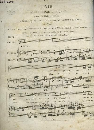 AIR DELLE NOZZE DI FIGARO - N°2  : CHANT + PIANO OU HARPE.