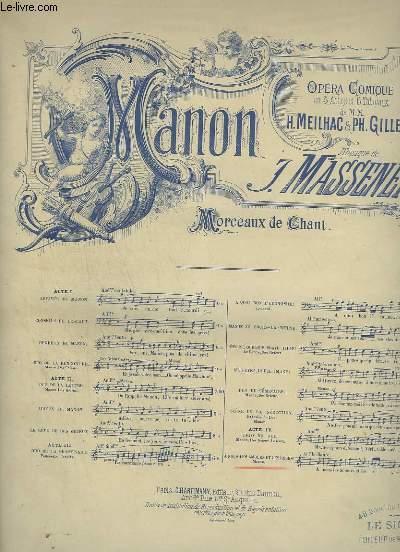 MANON - PIANO ET CHANT.