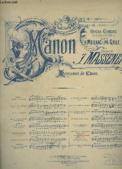 MANON - SCENE DE LA SEDUCTION POUR PIANO ET CHANT.