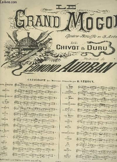 LE GRAND MOGOL - N°14 : COUPLETS DU VIN DE SURESNES - POUR PIANO ET CHANT SOPRANO OU TENOR.