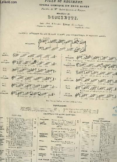 LA FILLE DU REGIMENT - N°7 : ROMANCE POUR PIANO ET CHANT.