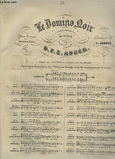 LE DOMINO NOIR - N°12 : AIR POUR PIANO ET CHANT.