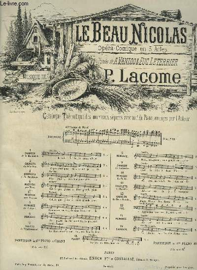 LE BEAU NICOLAS - N°11 : COUPLETS POUR PIANO ET CHANT.