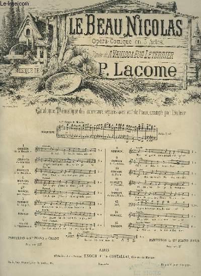 LE BEAU NICOLAS - N°8 : ROMANCE POUR PIANO ET CHANT.
