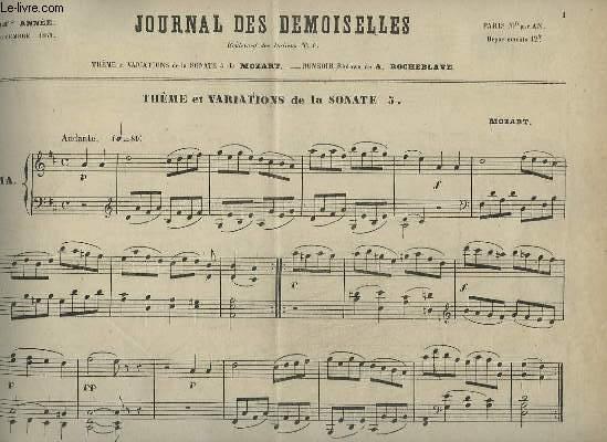JOURNAL DES DEMOISELLES - 34° ANNEE DE NOVEMBRE 1866 : THEME ET VARIATIONS DE LA SONATE 5 - POUR PIANO.