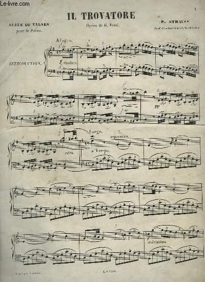 IL TROVATORE - SUITE DE VALSES POUR LE PIANO.