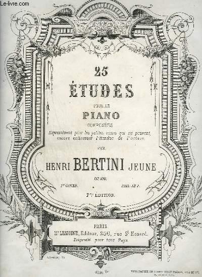 25 ETUDE POUR LE PIANO COMPOSEES EXPRESSEMENT POUR LES PETITES MAINS QUI NE PEUVENT ENCORE EMBRASSER L'ETENDUE DE L'OCTAVE - 1° CAHIER : OP.100.