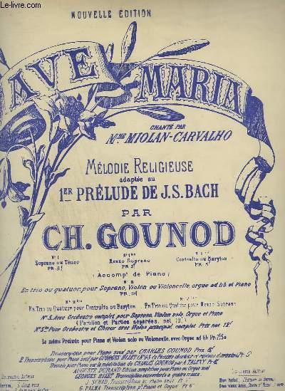 AVE MARIA - N° 1 BIS : PIANO ET CHANT MEZZO SOPRANO.