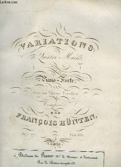VARIATIONS A 4 MAINS - PIANO-FORTE.