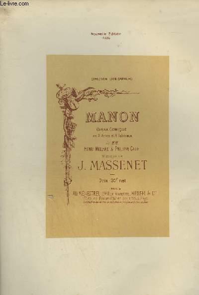 MANON - OPERA COMIQUE EN 5 ACTES ET 6 TABLEAUX - PIANO ET CHANT.