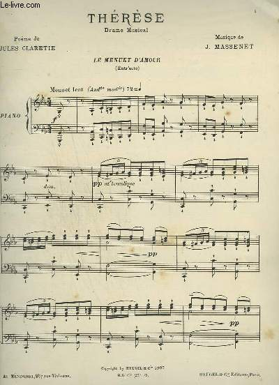 THERESE - DRAME MUSICAL : LE MENUET D'AMOUR POUR PIANO.