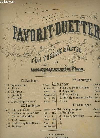 FAVORIT-DUETTER 3° SAMLINGEN  N°3 : AFTONVANDRING / LA PROMENADE DU SOIR - FÖR TVENNE RÖSTER MED ACCOMPAGNEMENT AF PIANO.