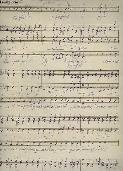 PARTITION MANUSCRITE : FEIGLIA MIA - ARIA PIANO ET CHANT.