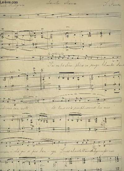 PARTITION MANUSCRITE : SANCTA MARIA - ANDANTE RELIGIEUSE POUR PIANO / CHANT.