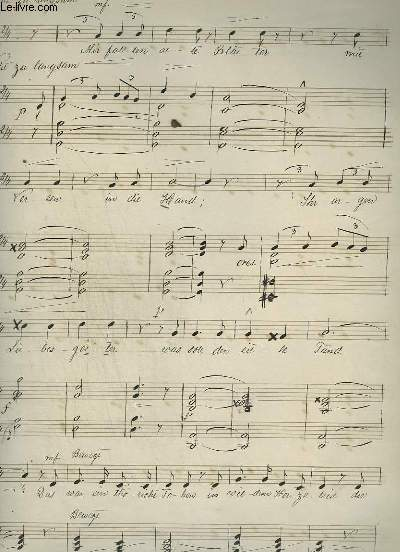 PARTITION MANUSCRITE : NICHTE ZU LANG SAM - PIANO ET CHANT.