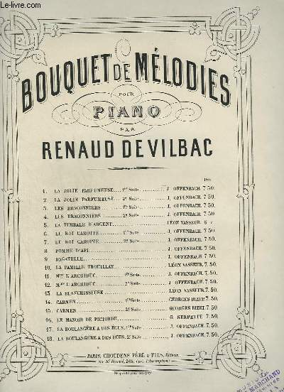 BOUQUET DE MELODIES POUR PIANO - N°14 :  CARMEN 1° SUITE.