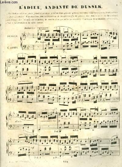 L'ADIEU, ANDANTE POUR PIANO.