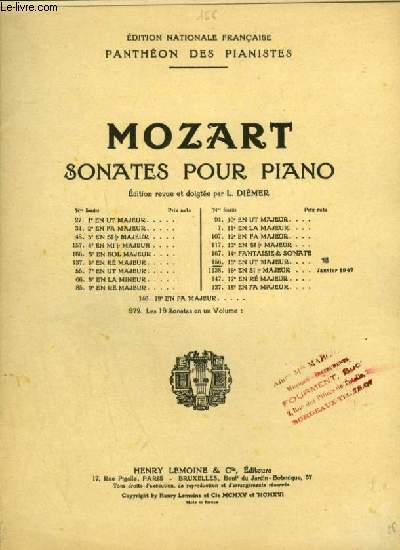 SONATES POUR PIANO - N°156 : 15° SONATE EN UT MAJEUR.