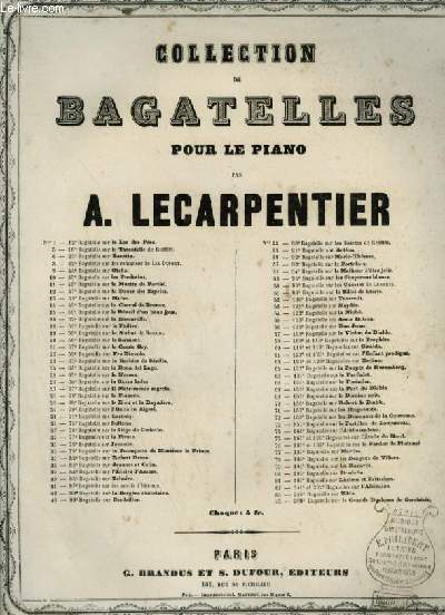 COLLECTION DE BAGATELLES POUR LE PIANO - N°159 : POSTILLON DE LONJUMEAU.