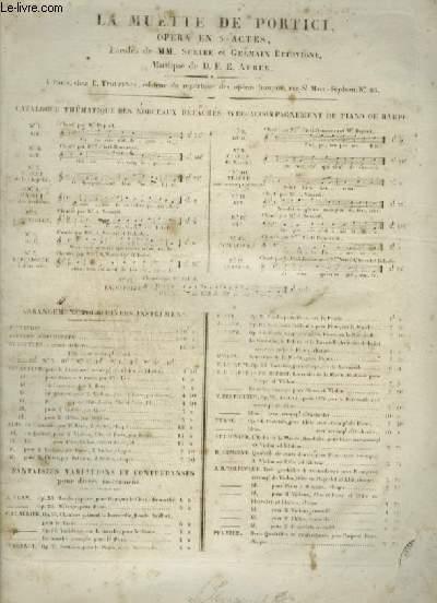 LA MUETTE DE PORTICI - OPERA EN 5 ACTES N°5 : BARCAROLE POUR PIANO ET CHANT.