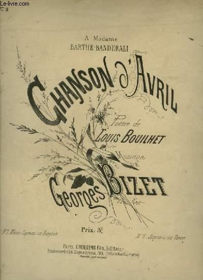 CHANSON D'AVRIL - N°2 : PIANO + CHANT SOPRANO OU TENOR AVEC PAROLES.