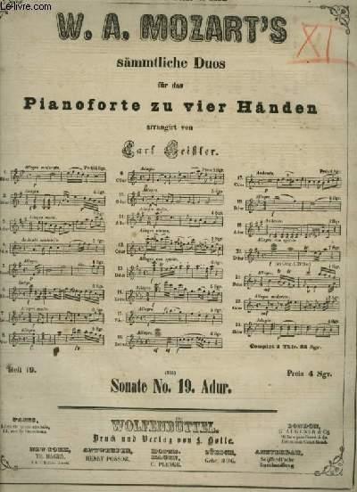 SONATE 19 - FÜR DAS PIANOFORTE ZU VIER HÄNDEN.