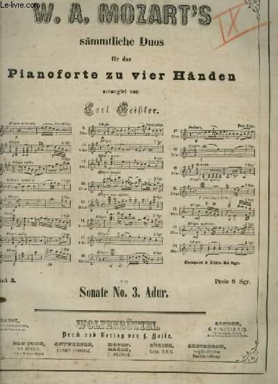 SONATE 3 - FÜR DAS PIANOFORTE ZU VIER HÄNDEN.