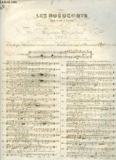 LES HUGUENOTS - N°5 : CAVATINE OU PAGE - POUR PIANO ET CHANT AVEC PAROLES.