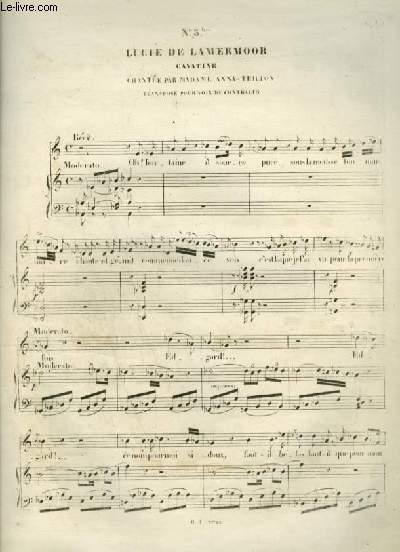 LUCIE DE LAMMERMOOR - N°3 BIS : CAVATINE POUR PIANO ET CHANT AVEC PAROLES.