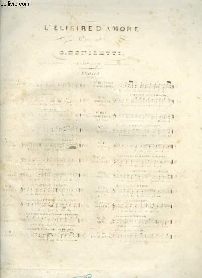 L'ELISIRE D'AMORE - N°38 : ROMANZA POUR PIANO ET CHANT AVEC PAROLES.