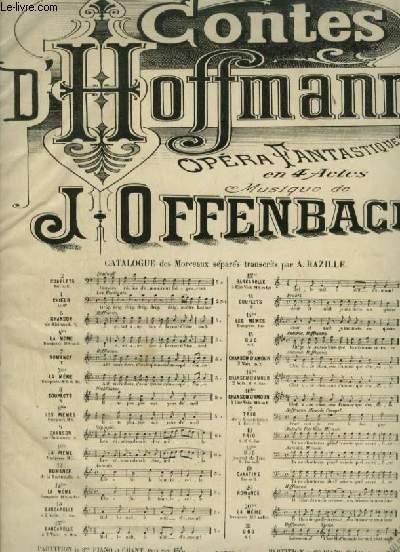 LES CONTES D'HOFFMANN - OPERA FANTAISIE EN 4 ACTES N°16 TER : CHANSON D'AMOUR POUR PIANO ET CHANT AVEC PAROLES.