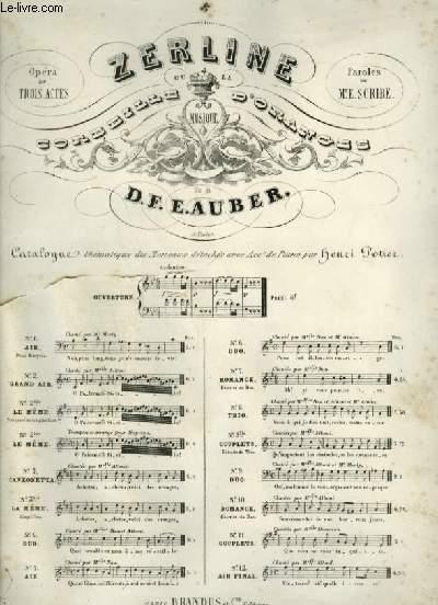 ZERLINE - OU LA CORBEILLE D'ORANGES - N°5 : AIR POUR CHANT + PIANO.