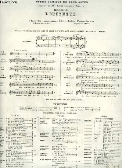 LA FILLE DU REGIMENT - OPERA COMIQUE EN 2 ACTES  - ROMANCE POUR PIANO ET CHANT VOIX DE MEZZO SOPRANO OU CONTRALTO.