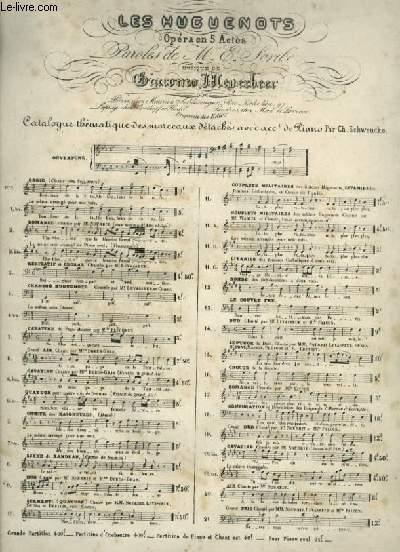 LES HUGUENOTS - N°6 BIS : CAVATINE - POUR PIANO ET CHANT AVEC PAROLES.