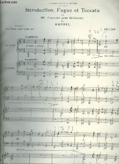 PHOTOCOPIE  DE PARTITION : INTRODUCTION, FUGUE ET TOCCATA DU 3° CONCERTO POUR PIANO A 4 MAINS.