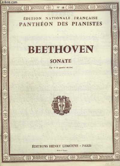 SONATE - OP.6 POUR PIANO A 4 MAINS.