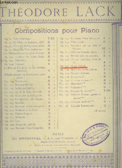 CHANT D'AVRIL - PIANO.